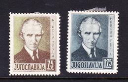 Yugoslavia SG 345-346 1936 80th Birthday Of Dr Tesla,mint Hinged - 1931-1941 Kingdom Of Yugoslavia