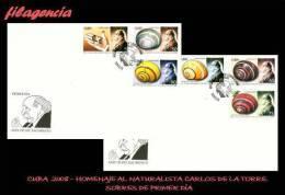 AMERICA. CUBA SPD-FDC. 2008 HOMENAJE AL NATURALISTA CUBANO CARLOS DE LA TORRE. POLIMITAS - FDC