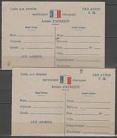 """Carte Aux Armées """"drapeau"""" Armée D'Afrique X2 Dont Une Variété """"couleur Rouge Du Drapeau Décalé Vers Le Bas"""", Neuves - Marcophilie (Lettres)"""