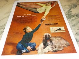 ANCIENNE PUBLICITE  PAS DAGE CHOCOLAT MENIER  1958 - Posters