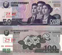 Lot 2 Billets Spécimen Corée Du Nord P 60S- 61S 2009 UNC - Corée Du Nord