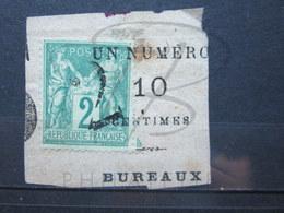 VEND TIMBRE DE FRANCE N° 74 , CACHET ANNULATION TYPOGRAPHIQUE DES JOURNAUX , SUR FRAGMENT !!! - 1876-1898 Sage (Type II)