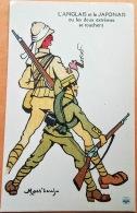 """CPA Illustrateur MASS'BEUF 1914-18  """"L'ANGLAIS Et Le JAPONAIS Ou Deux Extrêmes Se Touchent """" Imp. Guiraud Marseille N° - Oorlog 1914-18"""