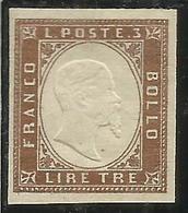 ITALIA REGNO ITALY KINGDOM 1861 EFFIGIE RE VITTORIO EMANUELE II KING LIRE 3 MNH RAME SCURO FIRMATO SIGNED - Nuovi