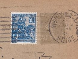 Entier Postal Neuilly Sur Seine 1929 Semeuse 40c + Timbre Jeanne D'Arc Orléans Ostende Belgique - Postwaardestukken