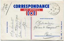 FRANCE CARTE CORRESPONDANCE AUX ARMEES DEPART POSTE AUX ARMEES 30-12-39 - Marcophilie (Lettres)