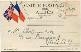 FRANCE CARTE POSTALE DES ALLIES DEPART POSTE AUX ARMEES 29-12-39 - Marcophilie (Lettres)