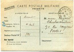 FRANCE CARTE POSTALE MILITAIRE PRIORITE DEPART POSTE AUX ARMEES 7-12-39 - Marcophilie (Lettres)