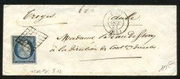 PARIS:  Pli Avec 25c CERES Non Dentelé Oblt Grille + CàDate 1302 Pour TROYES - 1849-1876: Période Classique