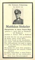 Matthäus STEKELER -  OBERGEFREITER IN EINEM PANZER-REGT. TUE LE 02 JANVIER 1942 EN RUSSIE - CARTE IN MEMORIAM - War 1939-45