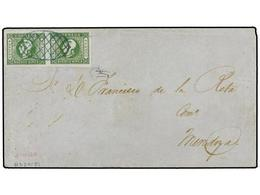 3 ARGENTINA. Sc.9 (2). 1859. BUENOS AIRES A MENDOZA.<B> 4 Reales</B> Verde S. Azulado, Pareja. MAGNÍFICA. - Stamps