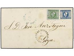 4 ARGENTINA. Sc.9, 10. 1860 (8 Julio). BUENOS AIRES A GOYA. <B>4 Reales</B> Verde Y <B>1 Peso</B> Azul (impresión Interm - Stamps