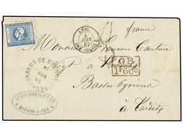 5 ARGENTINA. Sc.10. 1862. BUENOS AIRES A FRANCIA. Envuelta Circulada Con Sello De <B>1 Peso</B> Azul. Mat. Ovalado De <B - Stamps