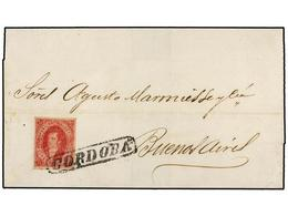 7 ARGENTINA. 1865 (30 Abril). CÓRDOBA A BUENOS AIRES. <B>5 Cts.</B> Rojo, Mat. Lineal <B>CORDOBA.</B> MAGNÍFICA. - Stamps