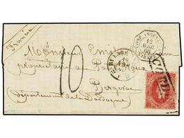 8 ARGENTINA. 1866. CÓRDOBA A FRANCIA. <B>5 Cts.</B> Rosa, Mat. Lineal <B>CORDOBA</B> Y Fechador De Buenos Aires Estampad - Stamps