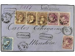 9 ARGENTINA. Sc.19, 22 (3), 23 (3). 1872 (9 Julio). SAN JUAN A MENDOZA. <B>1 Ctvo.</B> Lila (3), <B>4 Ctvos.</B> Castaño - Stamps