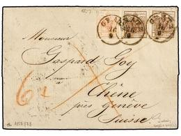 11 AUSTRIA. Mi.3Ya, 4Ya. 1857 (Sept. 16). Entire Letter To CHÊNE (near Geneva Switzerland) Franked By 1850-54 Machine Pa - Stamps
