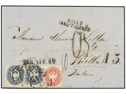 12 AUSTRIA. 1865. PEST A BIELLA (Italia). <B>5 Kr.</B> Rosa Y <B>10 Kr.</B> Azul (2). Marca <B>BOLLO INSUFFICIENTE</B> Y - Stamps