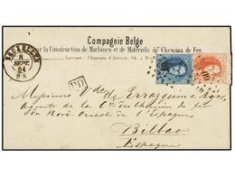 47 BELGICA. Yv.15A, 16A. 1864. BRUSELAS A BILBAO (España). Sobre De La <I>'Compagnie Belge De Chemins De Fer'<B> </B></I - Stamps