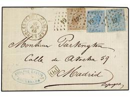 54 BELGICA. Yv.18+18A+19. 1866. MOELENBEEK (Bruxelles) A MADRID. <B>20 Cts.</B> Azul, <B>20 Cts.</B> Azul Claro Y <B>30  - Stamps