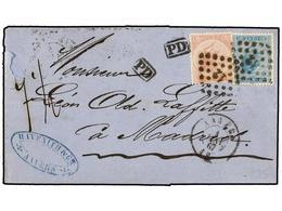 57 BELGICA. Yv.18, 20. 1867. ANVERS A MADRID (España). <B>20 Cts.</B> Azul Y <B>40 Cts.</B> Rosa. Al Dorso Llegada. RARA - Stamps