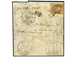 224 FRANCIA. Yv.30. 1871. PARÍS A LUXEMBURGO. <B>BALLON MONTE</B>. <B>30 Cts.</B> Castaño. Mat. <B>ESTRELLA</B> De París - Stamps