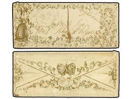 237 FRANCIA. 1840. BOULOGNE-SUR-MER Correo Interior. Pequeño Sobre Con Ilustración Impresa En Dorado, En El Frente Mujer - Stamps