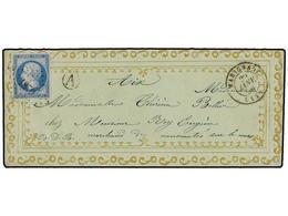 260 FRANCIA. Yv.14. 1859. MARIGNANE A AIX EN PROVENCE.<B> 20 Cts.</B> Azul. Sobre Con Ornamentación En Relieve Y Oro Imp - Stamps
