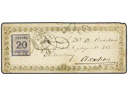 292 FRANCIA. 1871. <B>ALSACIA LORENA.</B> COLMAR A ARCACHON. <B>20 Cts.</B> Azul En Sobre Con Ornamentación Dorada Impre - Stamps