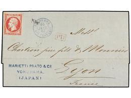 382 JAPON. 1867. YOKOHAMA A LYON. <B>INCENCIO DE LA OFICINA FRANCESA EN YOKOHAMA. </B>Carta Con Sello Francés De <B>80 C - Stamps