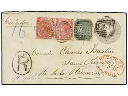 605 MAURICIO. Sg.103, 105 (2). 1889. MAURITIUS To ST. PIERRE (Ile Reunion). <B>8 Cent.</B> Grey Postal Stationery Envelo - Stamps