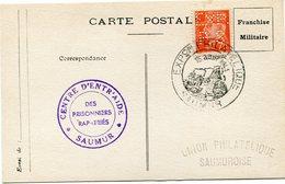 """FRANCE CARTE DE FRANCHISE MILITAIRE AVEC PETAIN PERFORE """"EXP. P.S"""" OBL. EXPon PHILATELIQUE 15 AOUT 1943 SAUMUR +........ - Marcophilie (Lettres)"""
