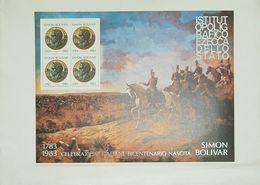 O) 1983 ITALY, SIMON BOLIVAR- BATTLE- FROM 1793 TO 1983, SOUVENIR MNH - Other