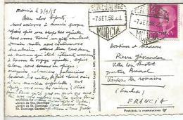 TARJETA POSTAL MURCIA 1958 CON MAT HEXAGONAL DE CORREO AEREO - Airmail