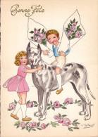 CP - SPAHN - Barré Et Dayez - Barday - Illustrateur - Chien - Enfants - Fleurs - Bonne Fête - 1416B - Illustrateurs & Photographes