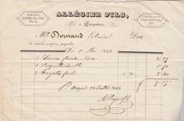 Facture 1/5/1848 ALLEGIER Fils Mercerie Quincaillerie Bonneterie CARPENTRAS Vaucluse Pour Dornand Carpentras - 1800 – 1899