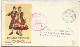 SPD TRAJE TIPICO AVIEDO CON FRANQUICIA DEL SERVICIO FILATELICO MADRID 1970 - Textiles
