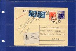 ##(DAN185)-1948-cartolina Postale Raccomandata Democratica L.4 Filagrano C133 Da Gubbio(Perugia) Per Roma - 1946-60: Marcofilie