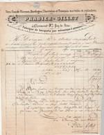 Facture 15/4/1850 PRADIER GILLET Fers  CLERMONT FERRAND Puy De Dôme Pour Dornan Carpentras - Cachet Postal - 1800 – 1899