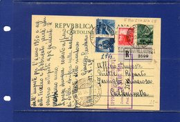 ##(DAN185)1949-cartolina Postale Raccomandata Democratica L.12 Filagrano C139 Da S.Caterina Villarmosa Frazionario 14-26 - 6. 1946-.. Repubblica