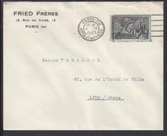 """FR - 1940 """"Fried Frères Paris"""" Timbre N° 448 Sur Enveloppe Pour Lyon - Flamme Publicitaire Cigare Diplomate - B/TB - - Poststempel (Briefe)"""