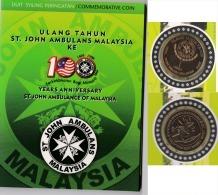 Malaysia Nordic Gold Coin BU 2008 St John Card Coins  100th St. John Ambulance 1 Ringgit Nordic Gold - Malaysia