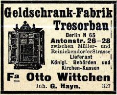 Original-Werbung/ Anzeige 1914 - TRESORBAN / GELDSCHRANK / OTTO WITTCHEN - BERLIN - Ca. 45 X 40 Mm - Publicités