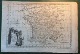 France ~1771 THOMAS BOWEN  Carte Géographique De France (astronomical 18th Century Map - Cartes Géographiques