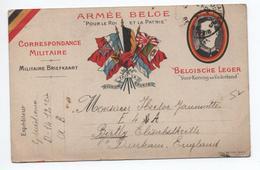 """1917 - CARTE FM ARMEE BELGE """"POUR LE ROI ET LA PATRIE"""" - Poststempel (Briefe)"""