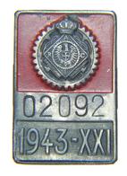 Piastrina Di Iscrizione R.A.C.I. ( Reale Automobile Club D'Italia - 1943 A. XXI) - Automobili