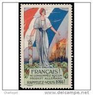 France WWI Anti-German Commercial Propaganda Cinderella Stamp - Commemorative Labels