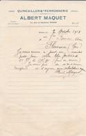 VIEUX PAPIER---22--DINAN---1918--A. MAQUET--quincaillerie Ferronnerie--rue Georges Clemenceau-( Memorandum )--voir  Scan - France