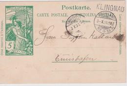 SUISSE 1900 ENTIER POSTAL CARTE AVEC  CACHET LINEAIRE KLINGNAU - Entiers Postaux