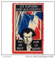 France WWI Anti-Spying Vignette Cinderella Poster Stamp - Commemorative Labels